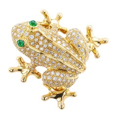 Estate Diamond Emerald Yellow Gold Frog Clip Brooch