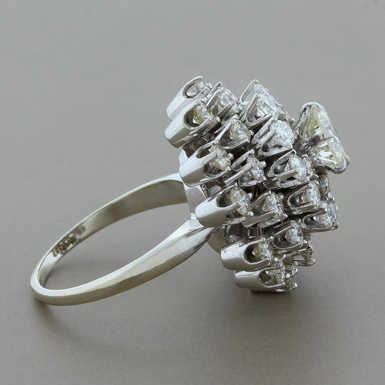 Estate Diamond Gold Domed Flower Cluster Ring In Excellent Condition For Sale In Beverly Hills, CA