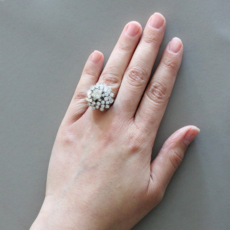 Estate Diamond Gold Domed Flower Cluster Ring For Sale 1