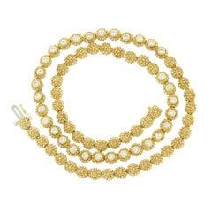 Estate Diamond Gold Floret Necklace Half Circle