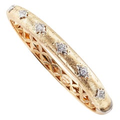 Estate Diamond Gold Italian Bangle Bracelet