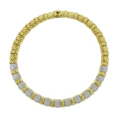 Estate Diamond Gold Twist Design Necklace