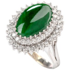 Estate Diamond Green Jade 14 Karat Halo Cocktail Ring