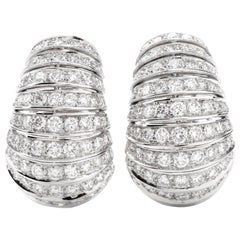 Estate Diamond Large Shell Motif 18 Karat Hoop Clip-On Earrings