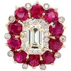 Estate Diamond Natural Ruby Cocktail Ring