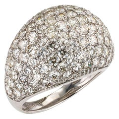 Estate Diamond Pave Platinum Dome Ring