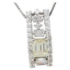 Estate Diamond Pendant Necklace in Platinum