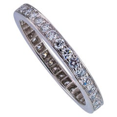 Estate Diamond Platinum Eternity Ring Size 8