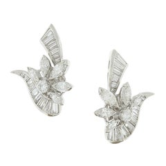 Estate Diamond Platinum Flower Cluster Earring