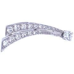 Estate Diamond Platinum Single Earring