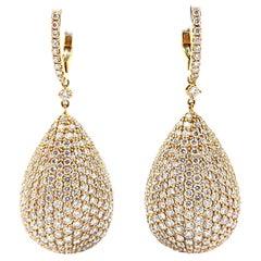 Estate Diamond Round Pave Teardrop Earrings 18 Karat Rose Gold