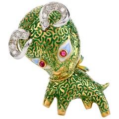 Estate Diamond Ruby and Green Enamel 18 Karat Gold Ram Pin Brooch