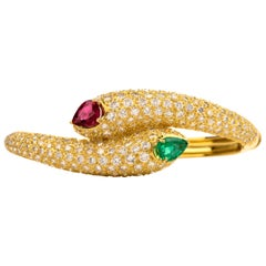 Estate Diamond Ruby Emerald Serpent Bypass Bangle Bracelet