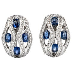 Estate Diamond Sapphire 18 Karat Dome Earrings