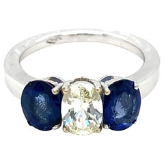 Estate Diamond Sapphire Gold Ring