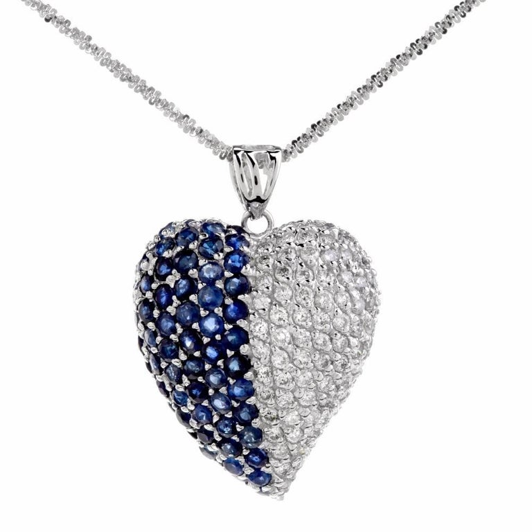 Estate Diamond Sapphire Heart 18 Karat Gold Pendant Necklace