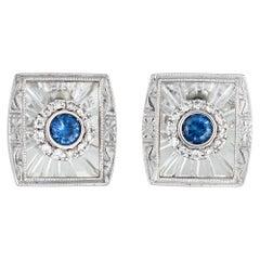 Estate Diamond Sapphire Rock Crystal Square Stud Earrings 14 Karat Gold Jewelry