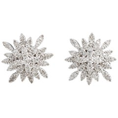 Estate Diamond Snowflake Earrings 14 Karat Gold Clip-On Vintage Fine Jewelry