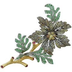 Estate Diamond Tsavorite Ruby Gold Flower Brooch