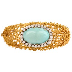 Estate Diamond Turquoise Mesh 18 Karat Nugget Bangle Bracelet