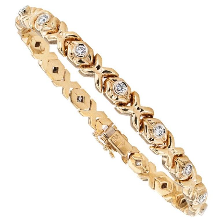 Estate Diamond Yellow Gold Flexible Bracelt For Sale