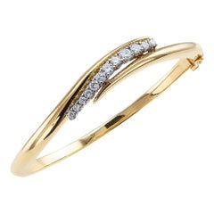 Estate Diamond Yellow Gold Hinged Bangle Bracelet Small Size