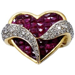 Estate Diamonds 7.10 Carat Ruby 18 Karat Gold Heart Cluster Cocktail Ring