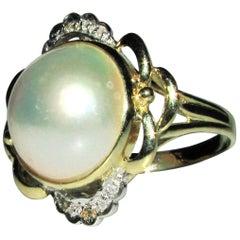 Estate Diamonds Mabe Pearl Cocktail Ring 14 Karat