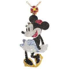 Estate Disney Minnie Mouse Pendant Necklace in 18 Karat Rose Gold