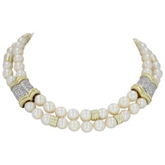 Estate Double Strand Pearl and Diamond Pave Necklace