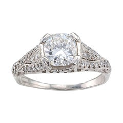 Estate E Color 1.01 Carat Cushion Cut Platinum Solitaire Engagement Ring