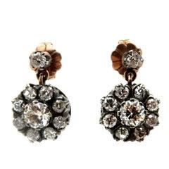 Estate Edwardian Style 18 Karat Gold and Silver Flower Diamond Dangle Earrings