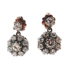 Estate Edwardian Style 9 Karat and Silver Diamond Flower Dangle Earrings