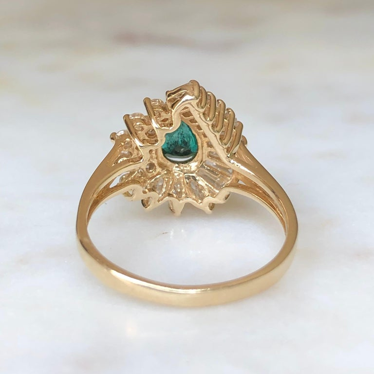 Estate Emerald and Diamond Cocktail Ring Gold For Sale 6
