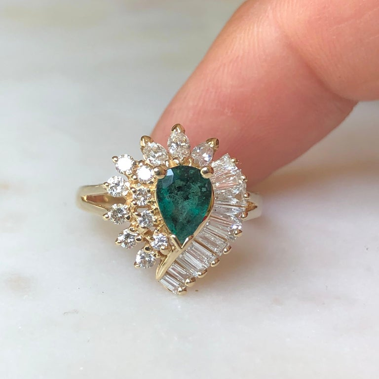 Art Deco Estate Emerald and Diamond Cocktail Ring Gold For Sale