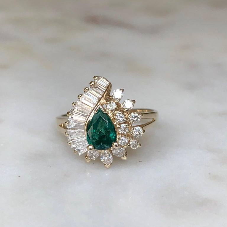 Pear Cut Estate Emerald and Diamond Cocktail Ring Gold For Sale