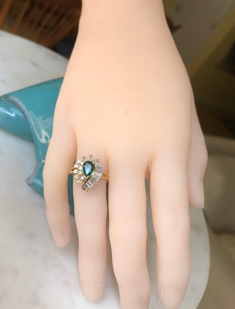 Women's Estate Emerald and Diamond Cocktail Ring Gold For Sale