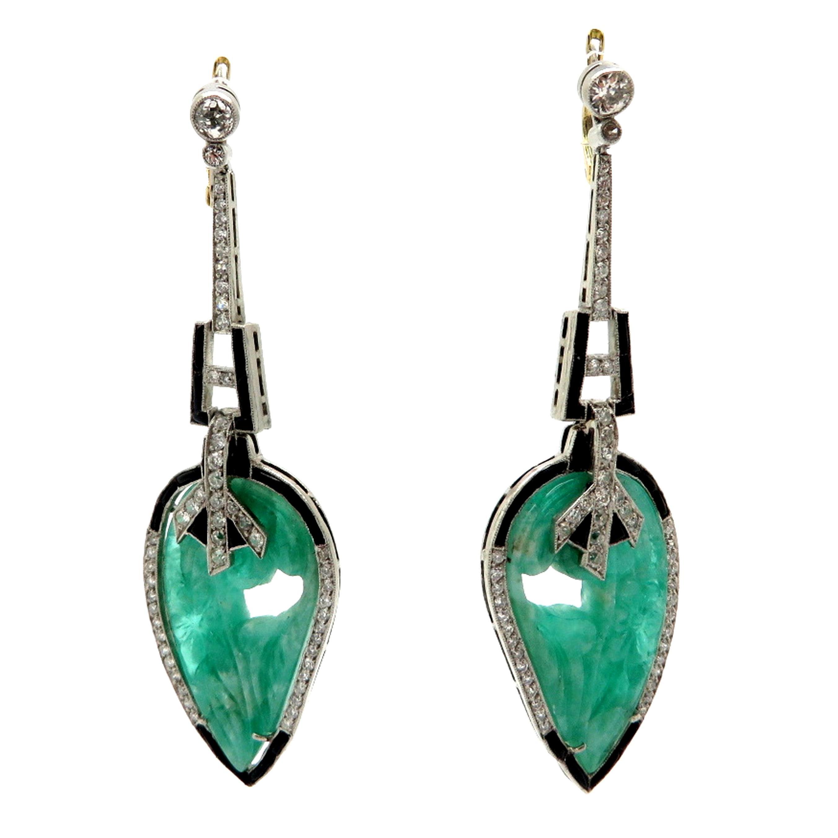 Estate Emerald and Diamond Platinum Art Deco Style Leaf Dangle Earrings