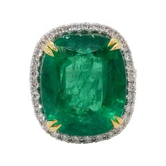 Estate Emerald Cushion and White Diamond Cocktail Ring