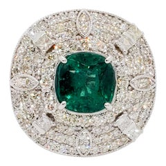 Estate Emerald Cushion and White Diamond Cocktail Ring in 14 Karat White Gold