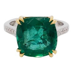 Estate Emerald Cushion and White Diamond Cocktail Ring in 18 Karat Gold