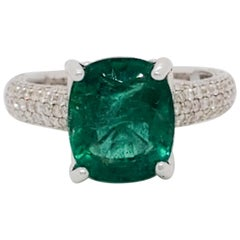 Estate Emerald Cushion and White Diamond Cocktail Ring in 18 Karat White Gold