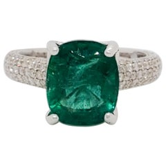 Estate Emerald Cushion and White Diamond Pave Cocktail Ring in 18 Karat Gold