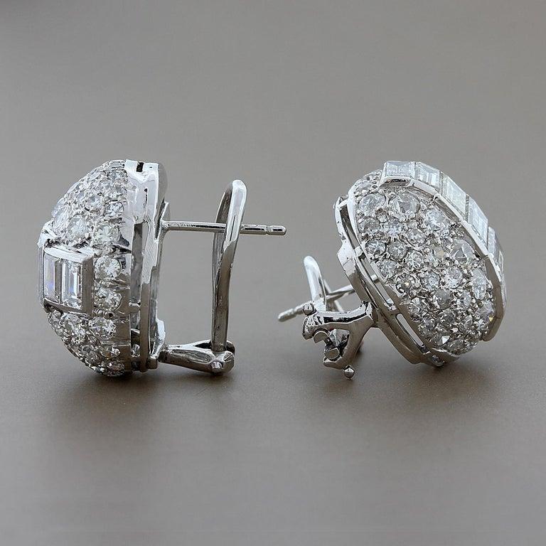 Estate Emerald Cut Diamond Gold Earrings 2