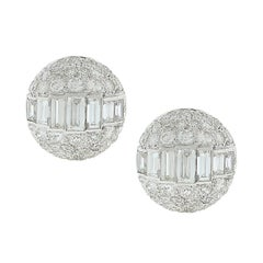 Estate Emerald Cut Diamond Gold Earrings