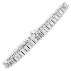 Estate Emerald Cut Diamond Platinum Tennis Bracelet