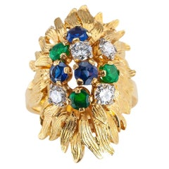 Estate Emerald Diamond Sapphire Yellow Gold Cluster Ring
