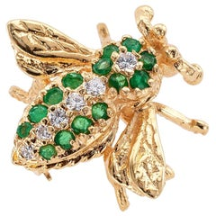 Estate Emerald Diamond Yellow Gold Bee Brooch