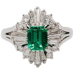 Estate Emerald Emerald Cut and White Diamond Cocktail Ring in Platinum