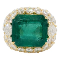 Estate Emerald Octagon and White Diamond Cocktail Ring in 18k Yellow Gold